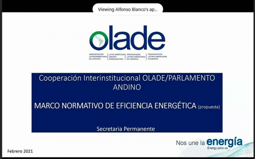 Olade y el Parlamento Andino trabajan en Eficiencia Energética para la subregión