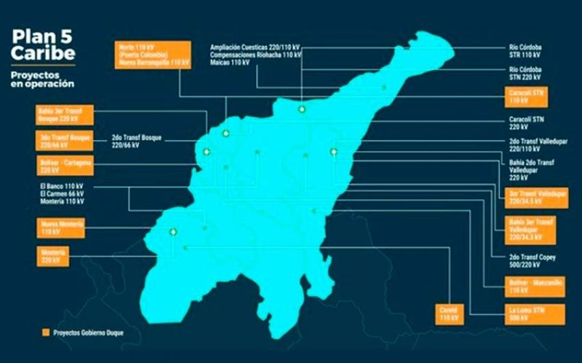 Gobierno duplica obras del 'Plan 5 Caribe' en operación para mejorar el servicio de energía