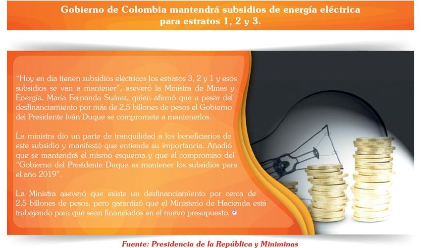 Gobierno de Colombia mantendrá subsidios de energía eléctrica para estratos 1, 2 y 3.